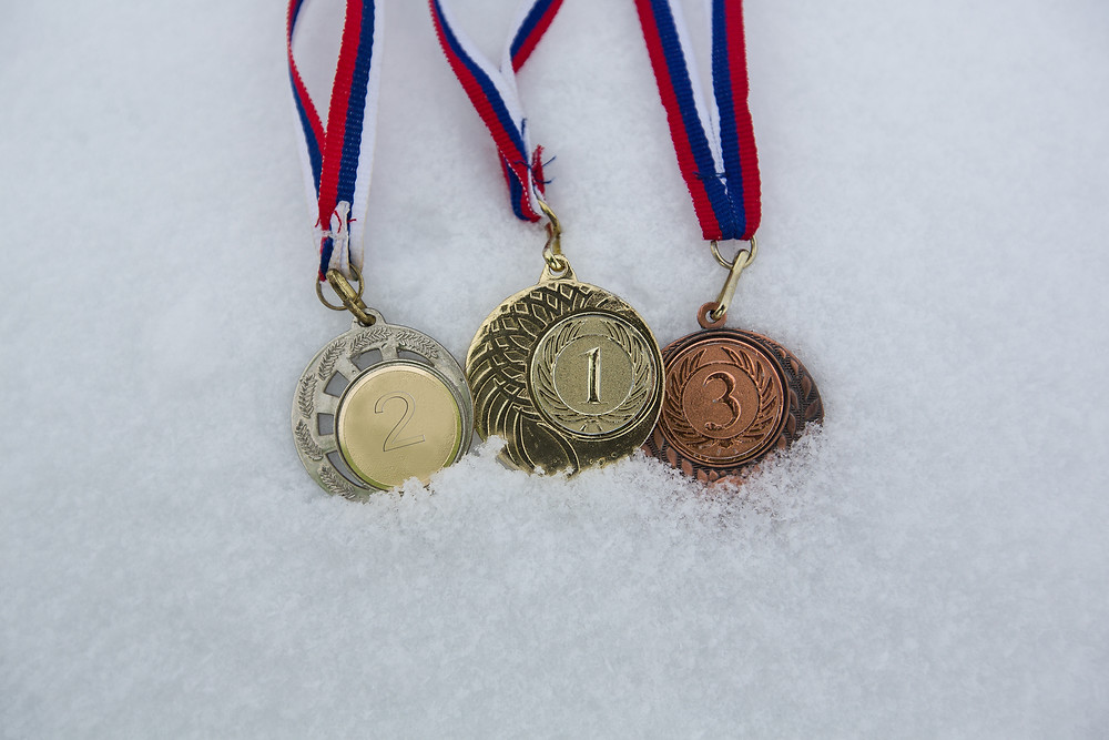 Olympic medals in snow