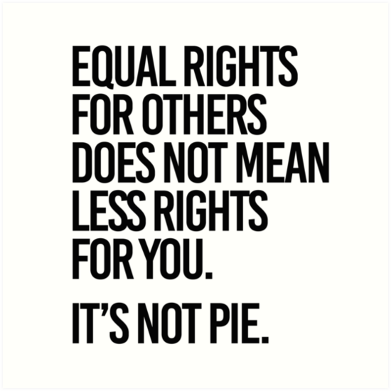 "Meme stating ""Equal rights for others does not mean less rights for you. It's not pie."""