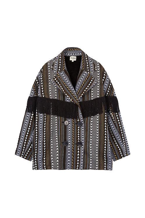Manteau over size court noir en kilim et franges.
