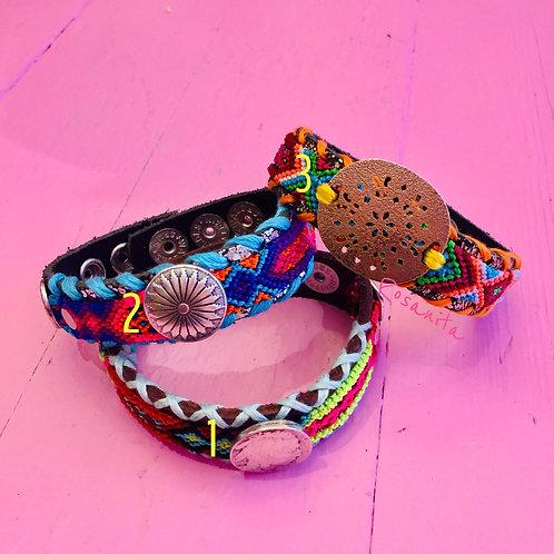 Bracelet  fantaisie cuir et coton tissé multicolore WAITZ