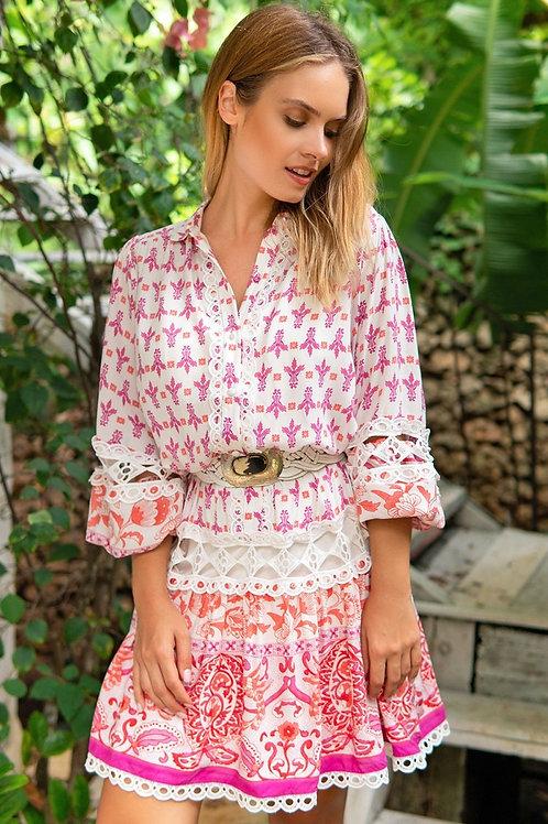 SHORT DRESS LYVIA WHITE PINK