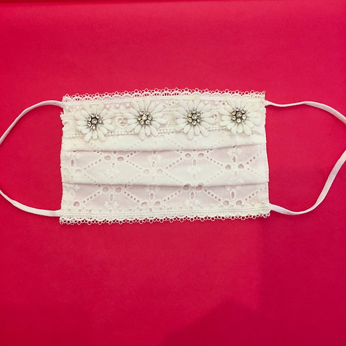 MASQUE COTON blanc Broderie Anglaise