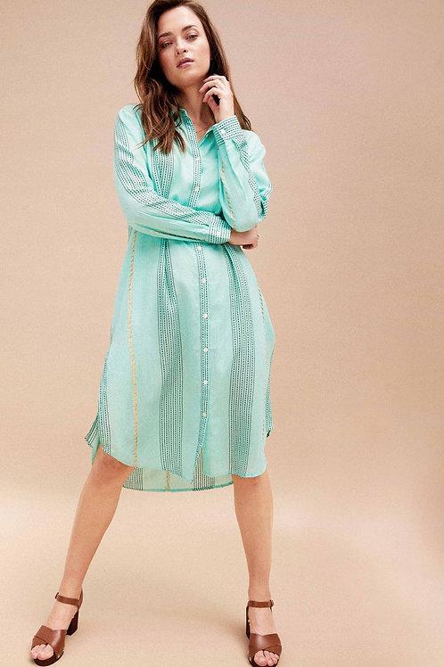 ROBE CHEMISE MI LONGUE PIA turquoise