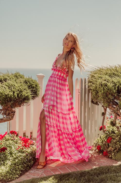 CATALINA long dress Gigham pink