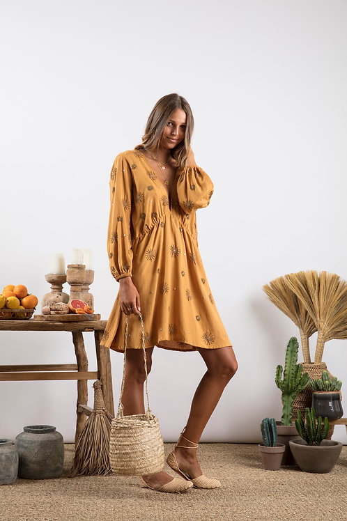 Short Dress Chicago Camel  / Sun Embroideries