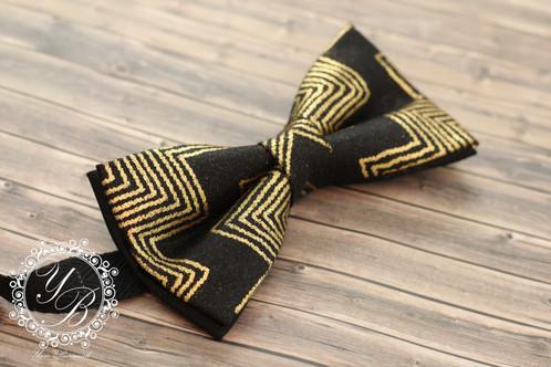 1c9ffb8f40f2 Handmade Bow-tie set, designed using a unique gold ankara print fabric. Set  consists of a bow-tie, a handmade fabric lapelrose pin and a cotton fabric  ...