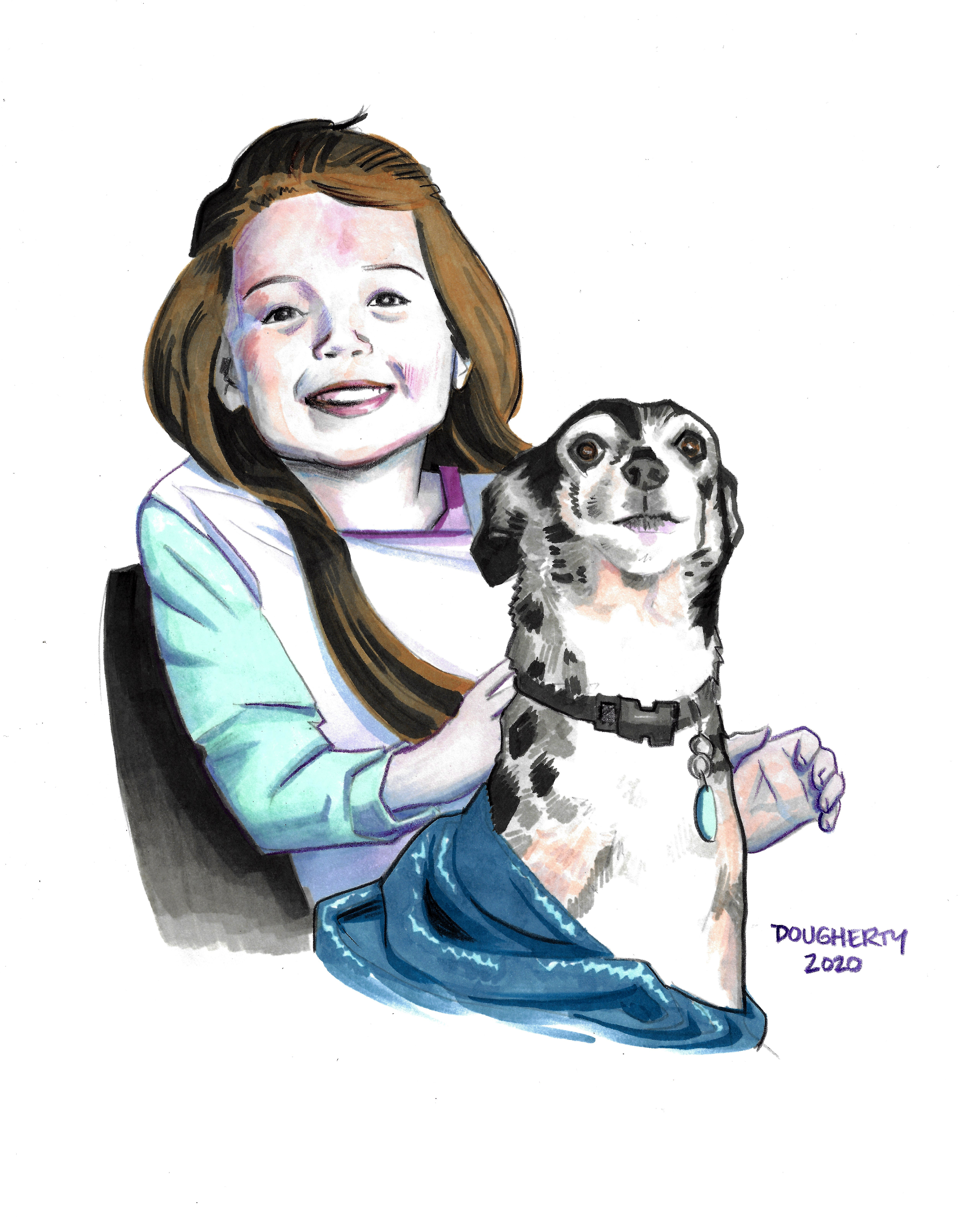 Kid and puppy portrait