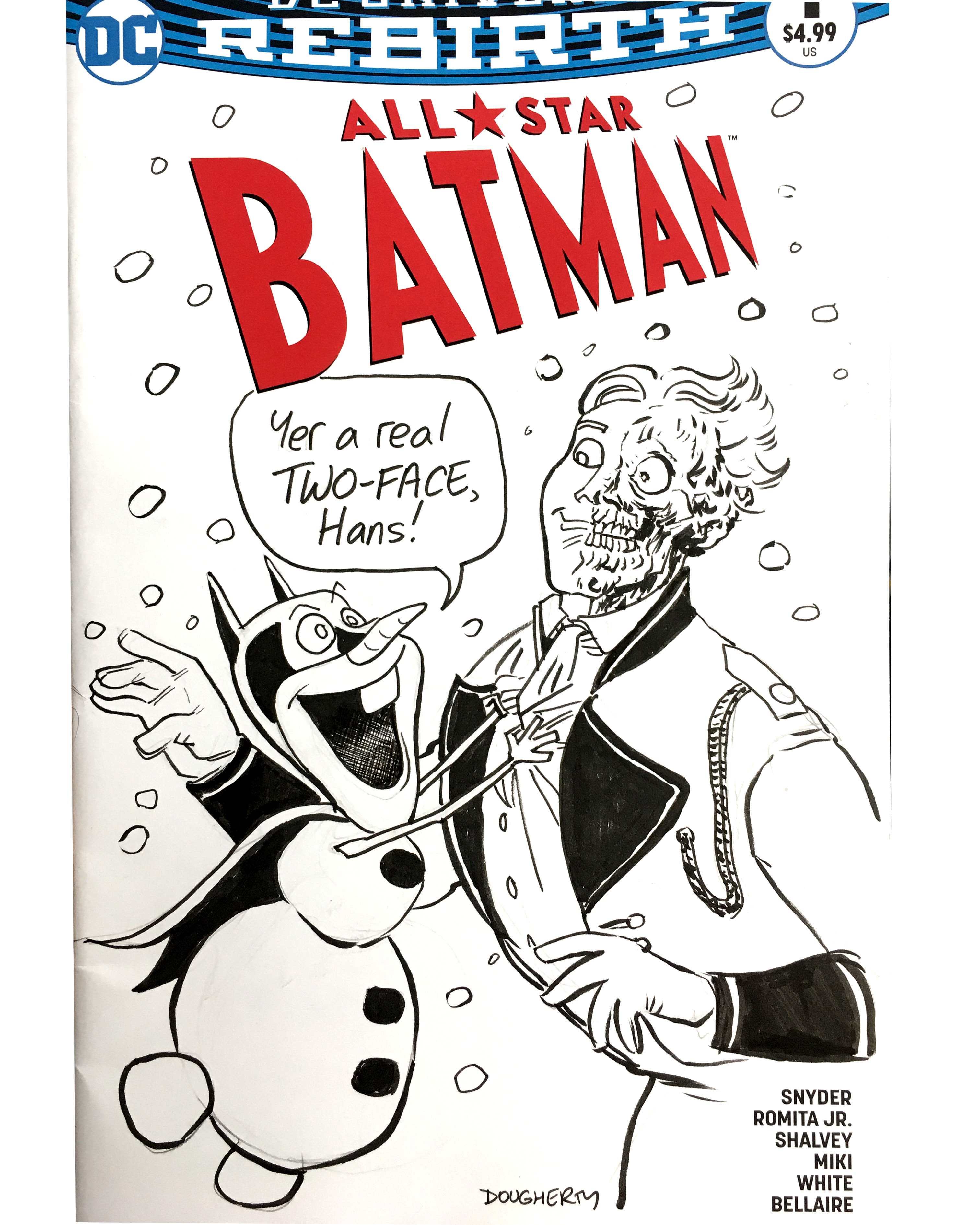 Frozen Batman sketch cover