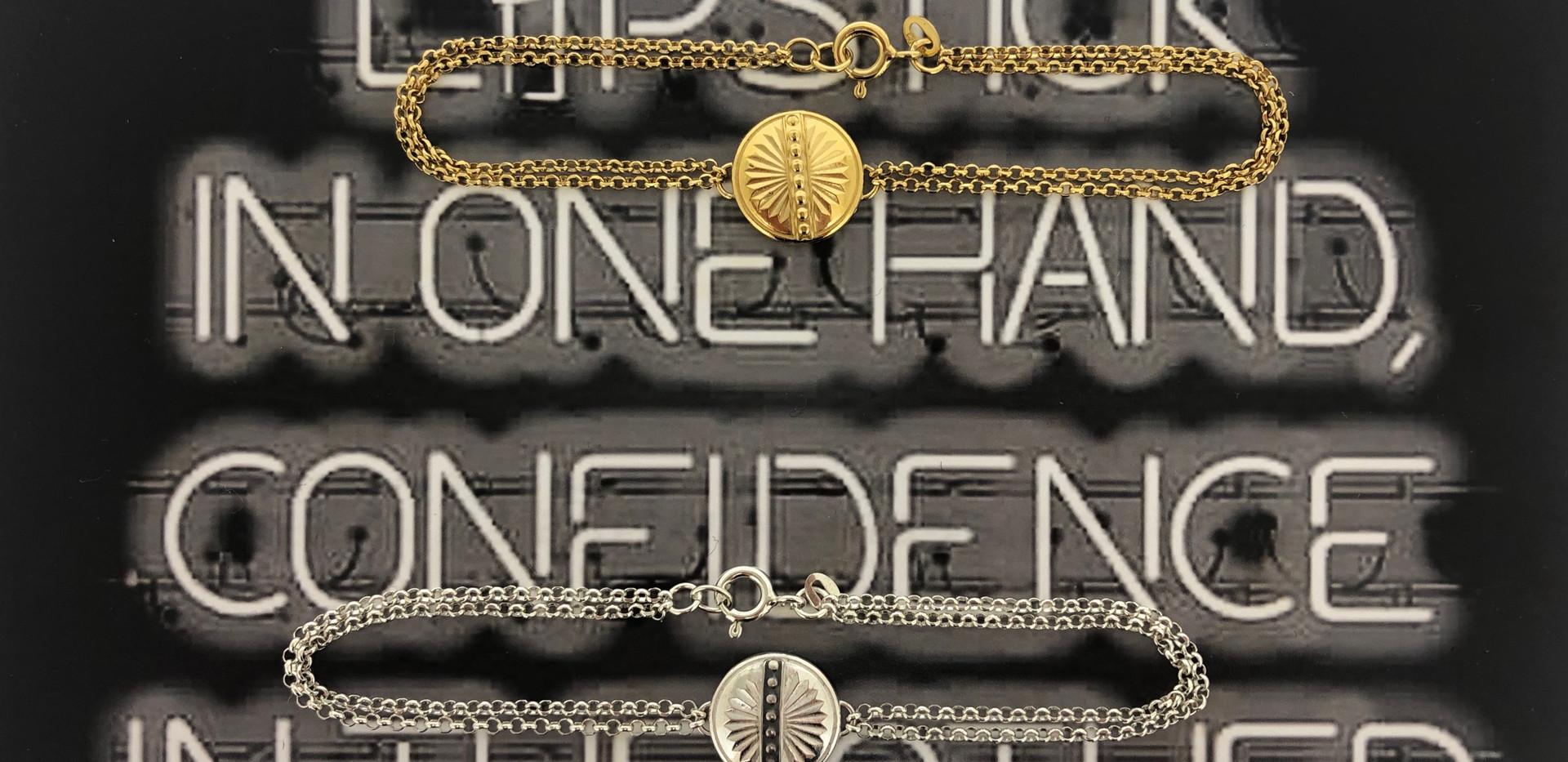 silver & silver 18 carat gold-plated bracelet