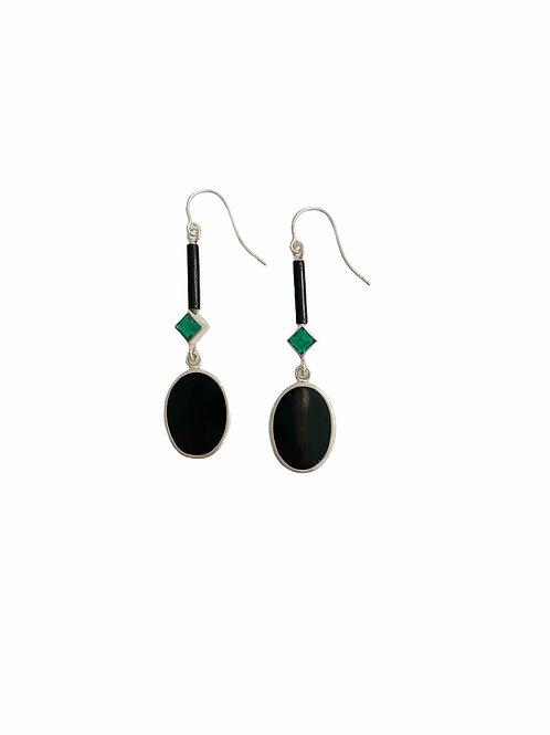 SILVER BLACK & GREEN EARRINGS
