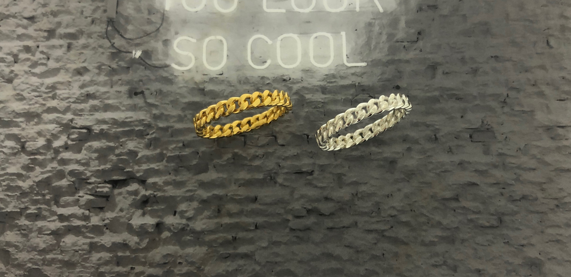 silver & silver 18 carat goldplated ring