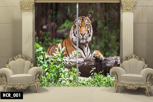 Tiger 3D Double Curtain 300 cm x 260 cm