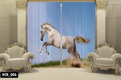 White Horse 3D Double Curtain 300 cm x  260 cm