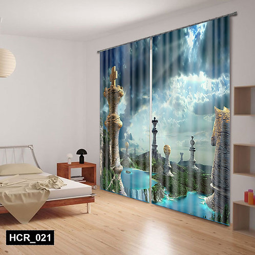Chess 3D Double Curtain 300 cm x  260 cm