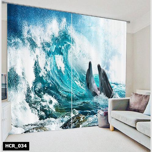 Homey curtian - Dolphins 300Cm*260Cm