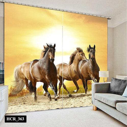 Wild Horse  3D Double Curtain 300 cm x 260 cm