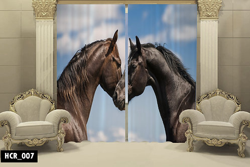 Black Horse 3D Double Curtain 300 cm x cm 260