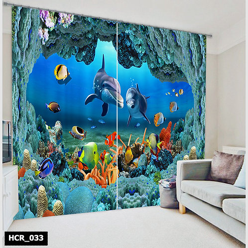Homey curtian - Deep Blue Sea  300Cm*260Cm