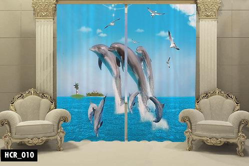 Dolphins 3D Double Curtain 300 cm x 260 cm