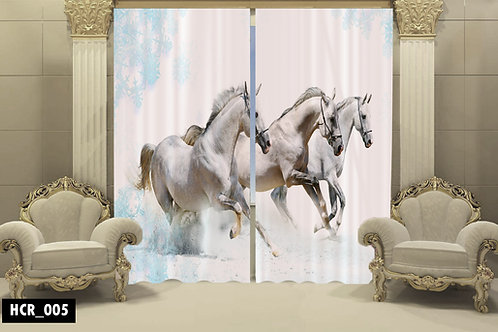 White Horses 3D Double Curtain 300 cm x 260 cm