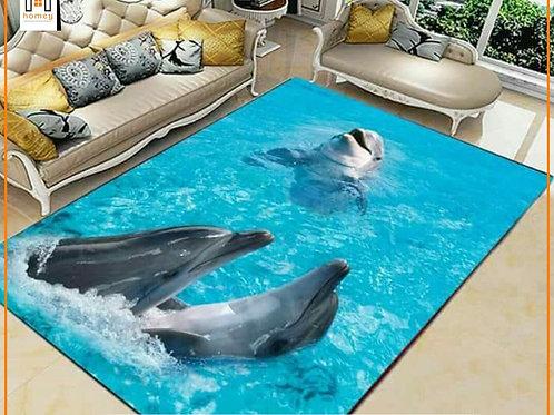 Dolphins Printed Carpet Cover 150 cm x 240 cm