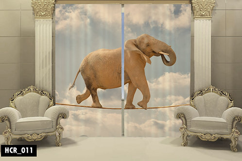 Elephant 3D Double Curtain 300 cm x 260 cm