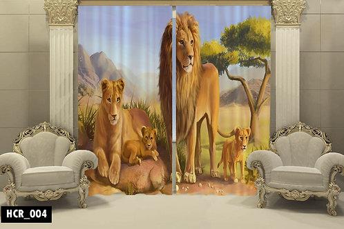 Wild Lion 3D Double Curtain