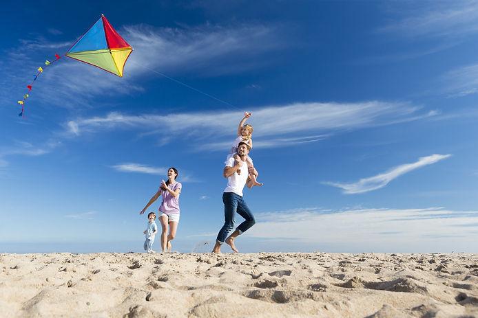 Family Enjoying a Day on the Beach Flyin