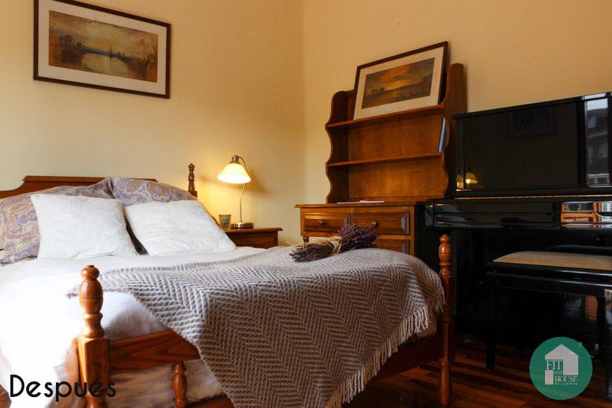 El cambio de una habitación pasada de moda a un acogedor espacio para dormir