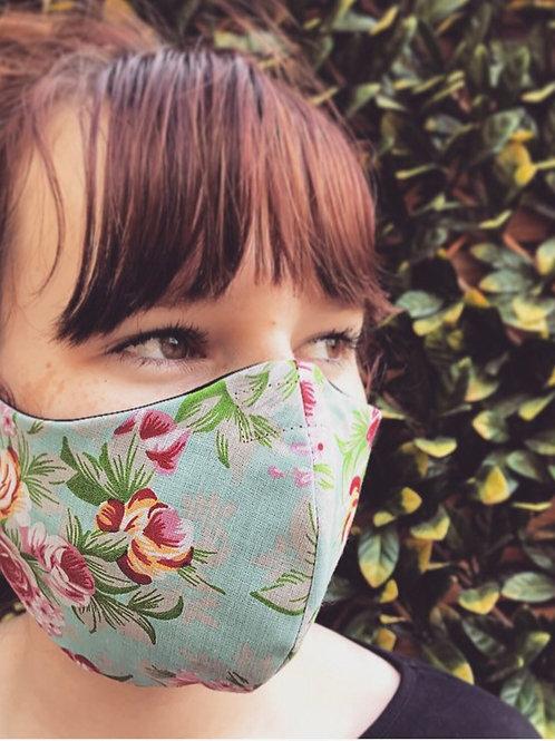 Blue flower face mask
