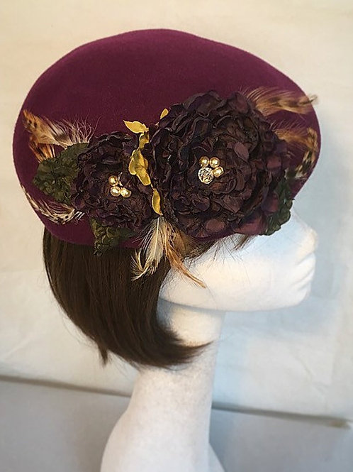 Purple beret fascinator FH5