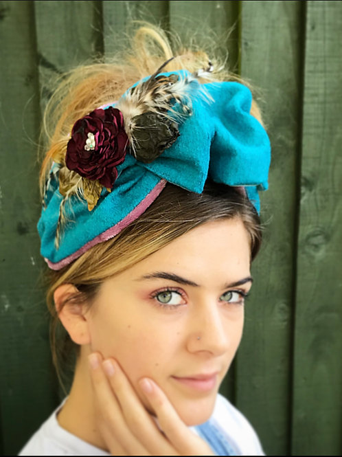 Blue wool band with flower corsage