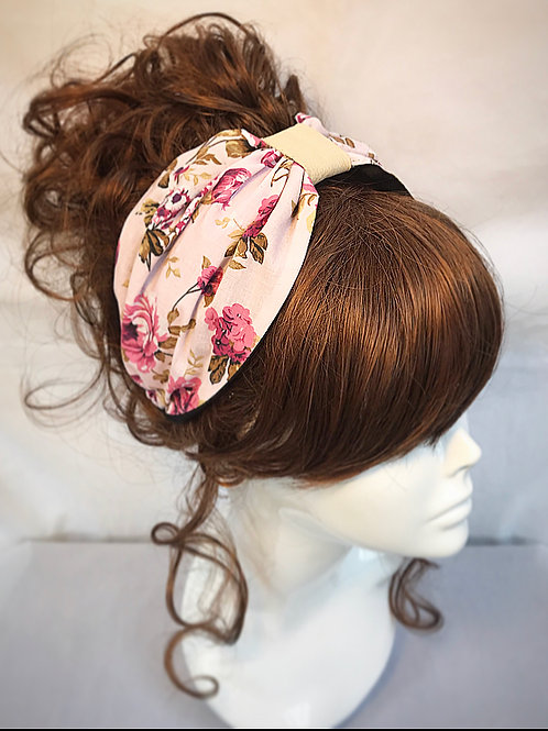 Pink floral turban band