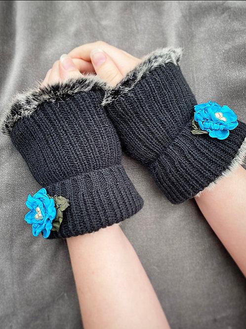 Blue flower reversible wrist warmers