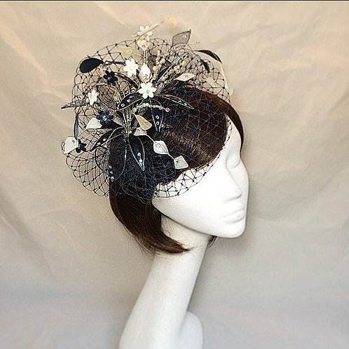 Navy blue fascinator