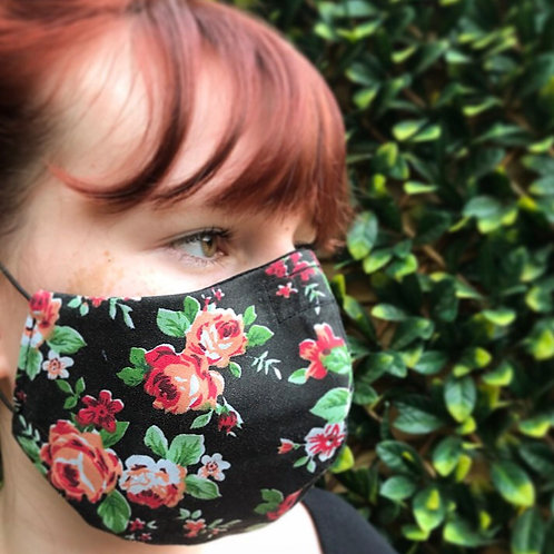 black vintage floral face mask