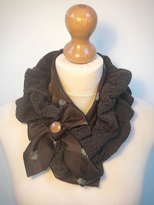 Brown button scarf