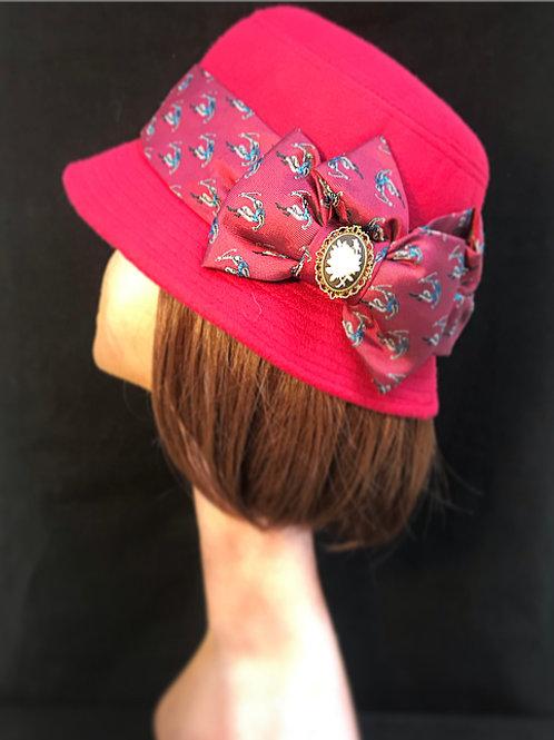 Red cloche hat