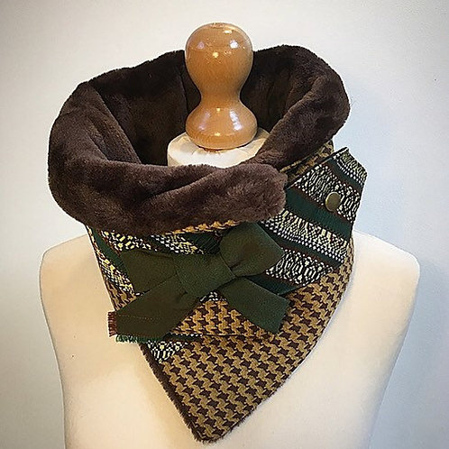 Mustard and brown neck warmer