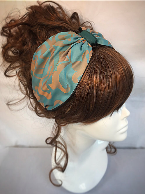 Teal and gold turban band