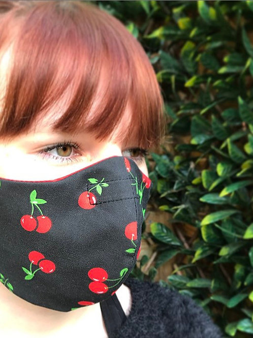 Black red cherry face mask