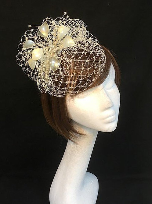 Silver fascinator, mother of the bride headdress 03