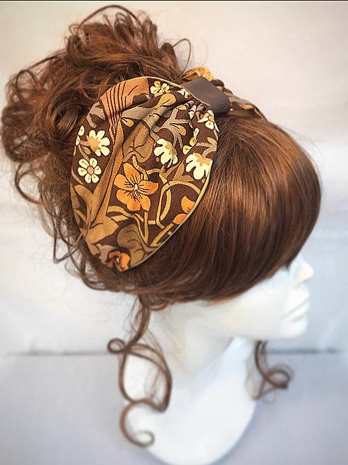Brown retro turban band
