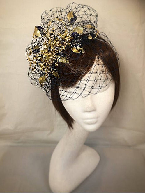Navy and gold fascinator 83