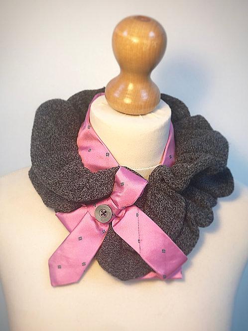 Pink grey ruffle scarf