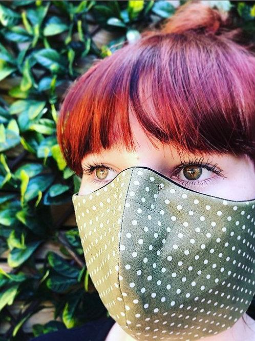 Lime green polka dot face mask
