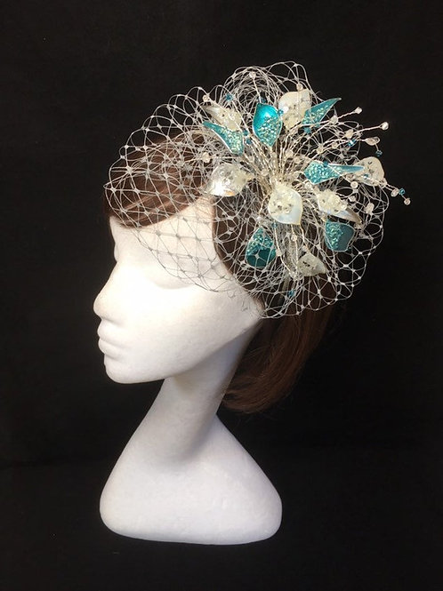 Teal and silver fascinator