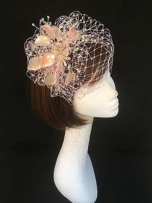 Pink and ivory fascinator 26