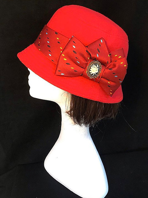 red cameo hat