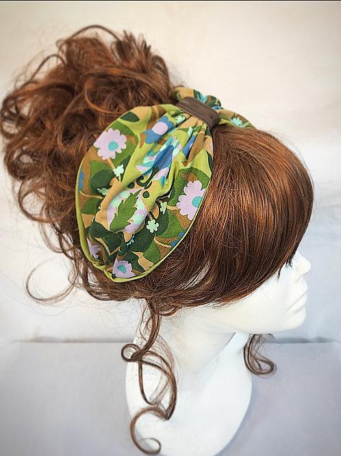 Green retro print turban band